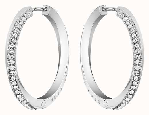 BOSS Jewellery Women's Stainless Steel Signature Hoop Earrings 1580162