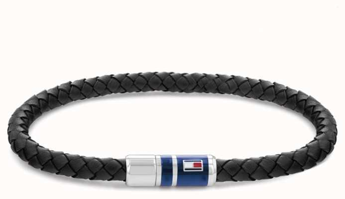 Tommy Hilfiger Men's Casual Leather Black Braided Bracelet 2790293