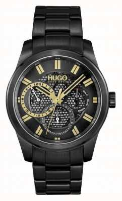 HUGO #Skeleton | Men's Black IP Bracelet | Black Dial 1530192