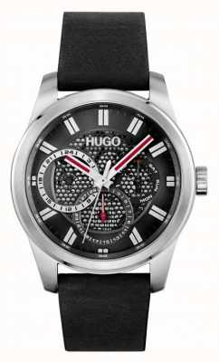 HUGO #Skeleton | Men's Black Leather Strap | Black Dial 1530189