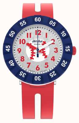 Flik Flak HOME RUN | Red Silicone Strap | White Dial FCSP101