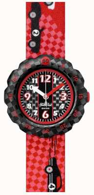 Flik Flak 3 2 1 GO! | Red Race Car Print Fabric Strap | Black Dial FPSP044