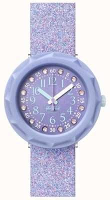 Flik Flak LILAXUS | Purple Glitter Silicone Strap | Purple Dial FCSP102