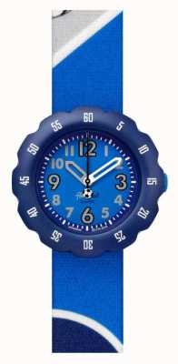Flik Flak KICK IT! | Blue Football Print Fabric Strap | Blue Dial FPSP045