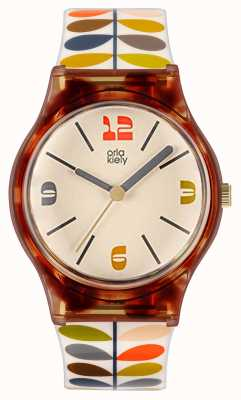 Orla Kiely Women's Bobby | Multi-Coloured Stem Print Plastic Strap | White Dial OK2338