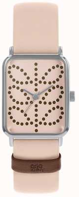 Orla Kiely Women's Pink Leather Strap   Pink Rectangle Dial OK2303