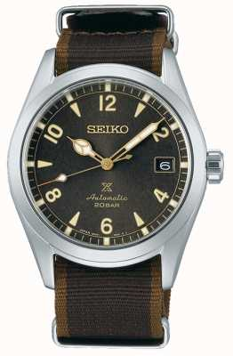 Seiko Alpinist | Black/Brown Nylon Strap | Black Dial SPB211J1