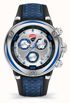 Ducati DT001 | Chronograph | Silver Dial | Blue Silicone Strap DU0064-ECH.B03