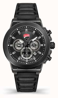 Ducati DT004 | DuelTime | Black Dial | Black Leather Strap DU0068-CCH.A01