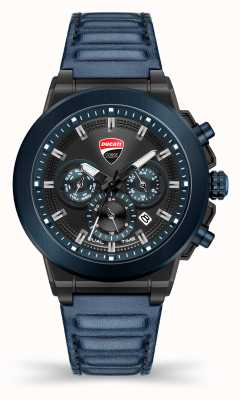 Ducati DT004 | Duel Time | Black Dial | Blue Leather Strap DU0068-CCH.A03