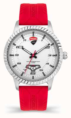 Ducati DT005 | Silver Dial | Red Silicone Strap DTWGN2019502