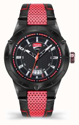 Ducati DT006 | Black Dial | Red Leather Strap DU0072-3HE.A01