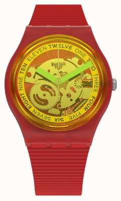 Swatch RETRO-ROSSO | Red Silicone Strap | Transparent Yellow Dial GR185