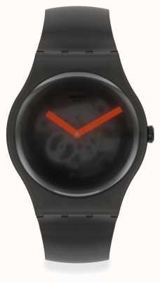 Swatch BLACK BLUR | Black Silicone Strap | Black Transparent Dial SUOB183