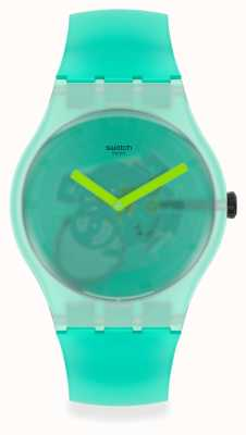 Swatch NATURE BLUR | Mint Green Silicone Strap | Mint Green Transparent Dial SUOG119
