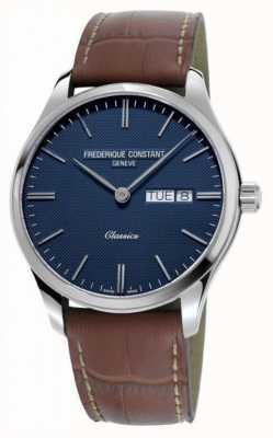 Frederique Constant Men's Classic Quartz | Brown Leather Strap | Blue Dial FC-225NT5B6