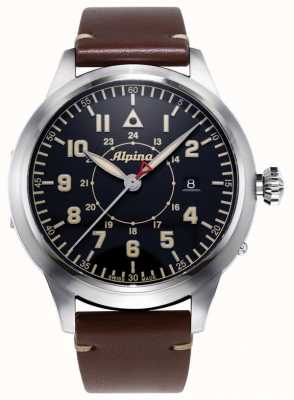 Alpina Smartimer Pilot Heritage LTD | Brown Leather Strap | Blue Dial AL-525BBG4SH6