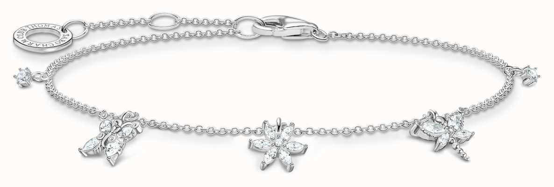 Thomas Sabo Sterling Silver Bracelet | White Flowers & Butterfly Charms A2027-051-14-L19V