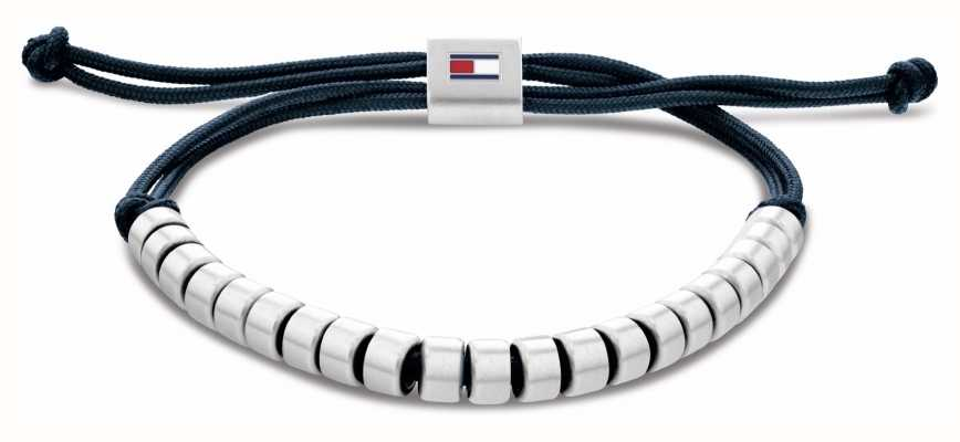 Tommy Hilfiger Men's Casual Blue Nylon Beaded Bracelet 2790291
