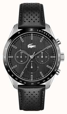 Lacoste Men's Boston | Black Leather Strap | Black Dial 2011109