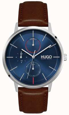 HUGO #Exist | Men's Brown Leather Strap | Blue Dial 1530201
