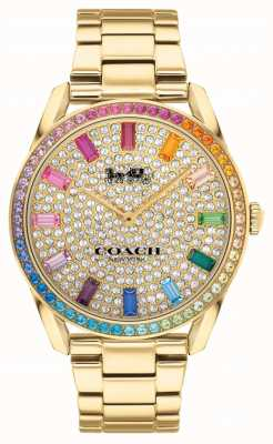 Coach Women's Preston | Gold Plated Steel Bracelet | Crystal Set Dial 14503657