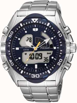 Pulsar Mens Alarm Blue Multi-Dial Watch PP4005X1
