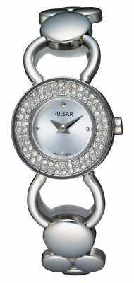 Pulsar Womens Silver Crystal Set Case Bracelet Watch PEGD87X1