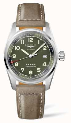 Longines Spirit Green Dial Brown Leather Strap L38104032