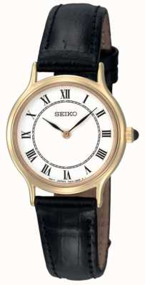 Seiko Womens White Dial Black Leather Strap Watch SFQ830P1
