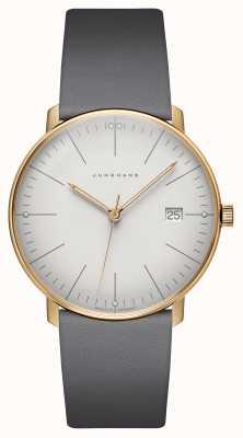 Junghans Max Bill Quartz Grey Leather Strap Watch 041/7857.04