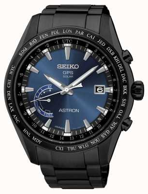 Seiko Astron GPS Black IP Plated Stainless Steel Blue Dial SSE111J1