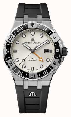 Maurice Lacroix Aikon Venturer GMT 43mm | Black Rubber Strap | White Dial AI6158-SS001-130-2