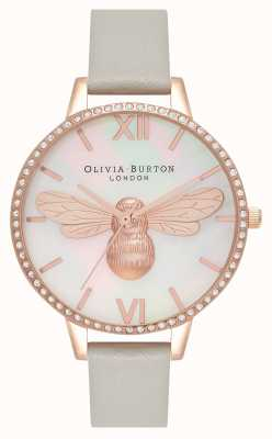 Olivia Burton Lucky Bee Demi Dial Grey And Rose Gold Sparkle Case OB16BB17
