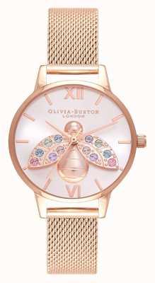 Olivia Burton Rainbow Bee Silver Sunray Rose Gold Mesh OB16RB28