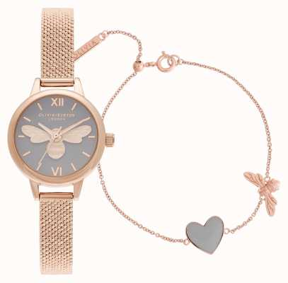 Olivia Burton | You Have My Heart | Watch & Bracelet Set | Rose Gold | OBGSET148