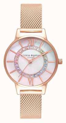 Olivia Burton Rainbow Sparkle Wonderland Rose Gold Mesh OB16WD95