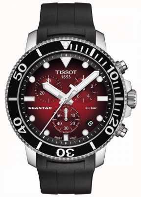 Tissot Seastar 1000 | Chronograph | Red Dial | Black Silicone Strap T1204171742100