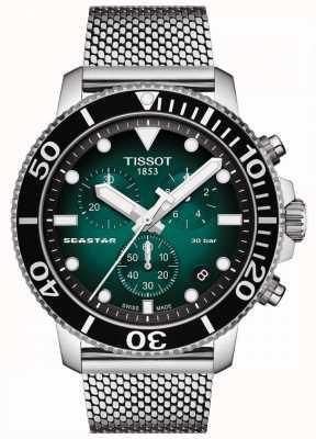 Tissot Seastar 1000 | Chronograph | Green Dial | Stainless Mesh T1204171109100