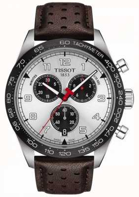 Tissot PRS 516 | Chronograph | Silver Dial | Brown Leather Strap T1316171603200