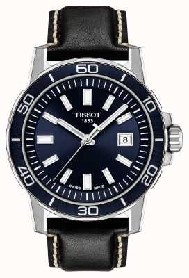 Tissot Supersport | Blue Dial | Black Leather Strap T1256101604100