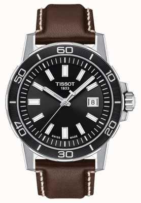 Tissot Supersport | Black Dial | Brown Leather Strap T1256101605100