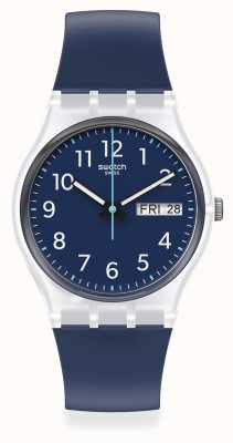 Swatch RINSE REPEAT |  Navy Blue Dial | Navy Blue Silicone Strap GE725