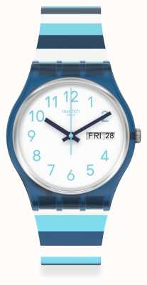 Swatch STRIPED WAVES | White Dial | Blue Stripe Silicone Strap GN728