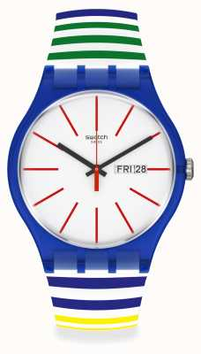 Swatch HOME STRIPE HOME | White Dial | Multi-Coloured Plastic Strap SUON715