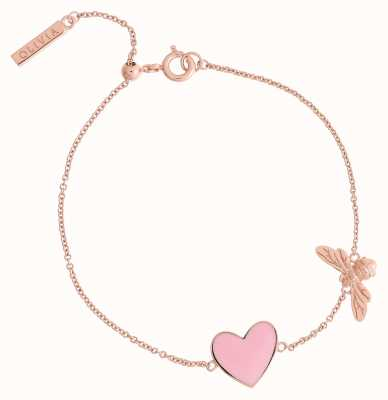 Olivia Burton You Have My Heart Pink And Rose Gold Bee Chain Bracelet OBJLHB15