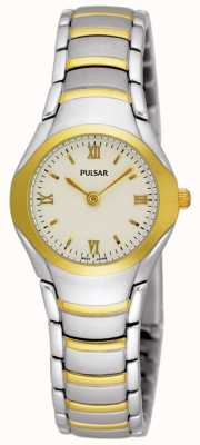 Pulsar Womens Two Tone Stainless Steel Bracelet Watch PEG406X1