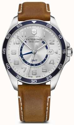 Victorinox Swiss Army | FieldForce GMT | Men's | Brown Leather Strap | Silver Dial 241931