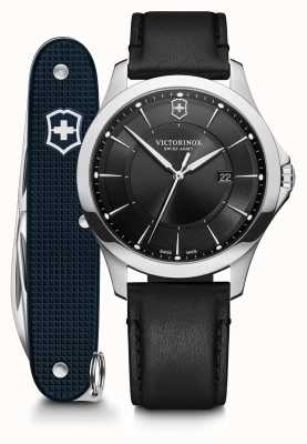 Victorinox Swiss Army | Alliance SET | Men's | Black Leather Strap | Black Dial | Swiss Army Knife 241904.1