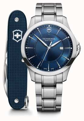 Victorinox Swiss Army | Alliance SET | Men's | Stainless Steel Bracelet | Blue Dial | Swiss Army Knife 241910.1